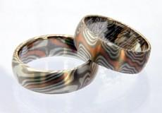 "Mokume-Gane Ring: 2 Trauringe ""Edelmix"""