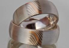 Mokume-Gane Ring / Damast Ring: 2 Verlobungsringe mit 925er Silber