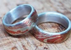 Mokume-Gane Ring: Kupfer mit Silberinnenring
