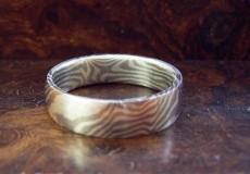 Mokume-Gane Ring: 925er Silber und Palladium 500